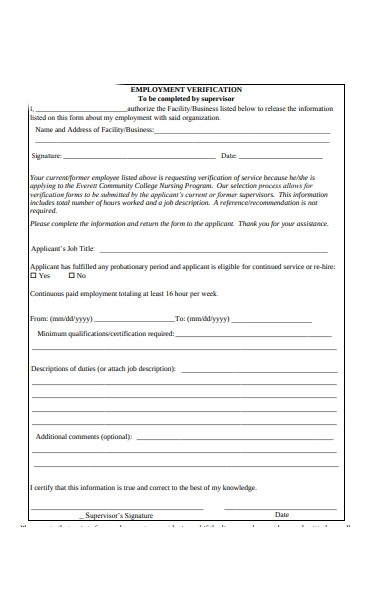employment facility verification form