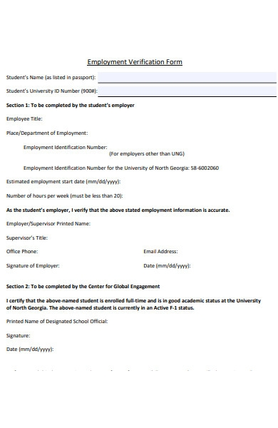 employment identification verification form