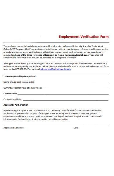 employment program verification form