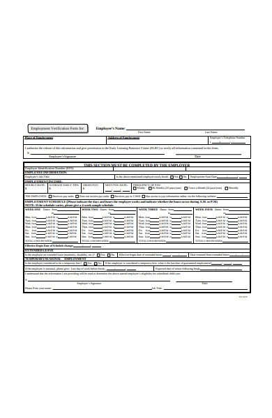 employment schedule verification form
