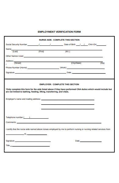 employment service verification form