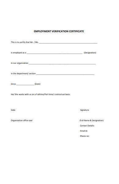 employment verification certificate form