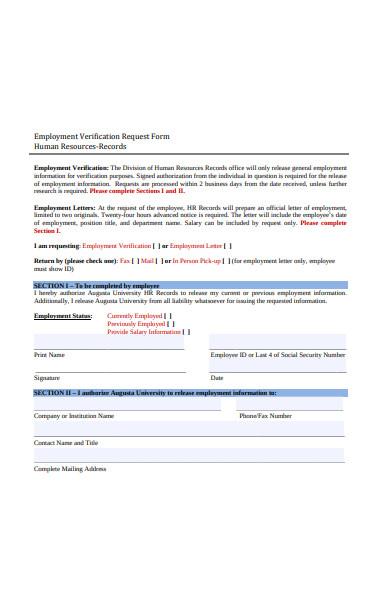 employment verification request form