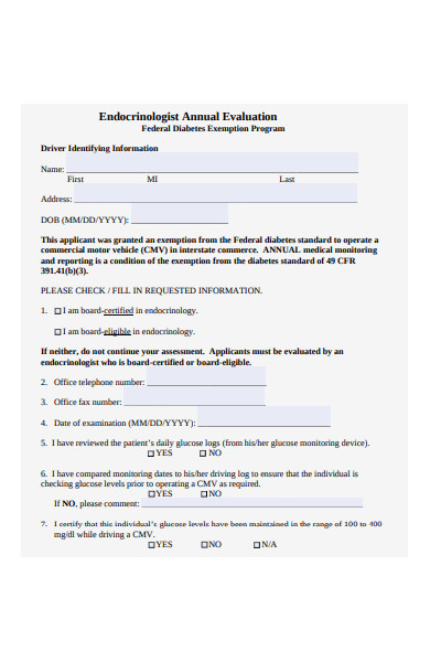 endocrinologist medical evaluation form