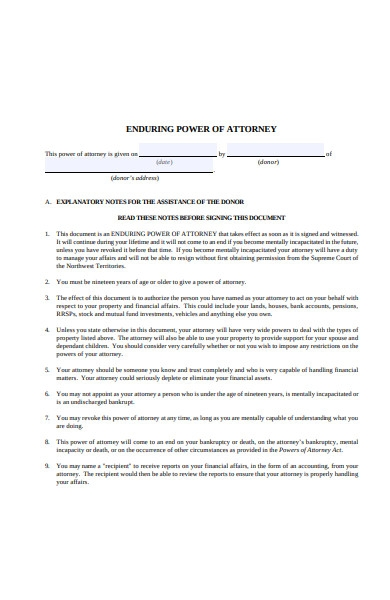 enduring power of attorney forms