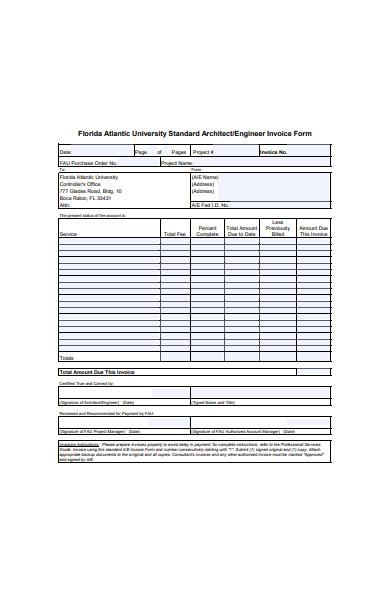 engineer invoice form