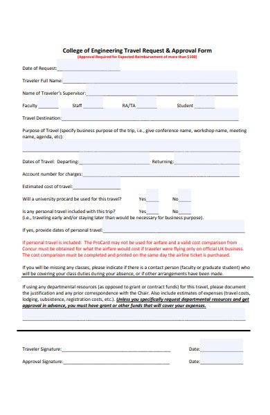 engineering college travel request form
