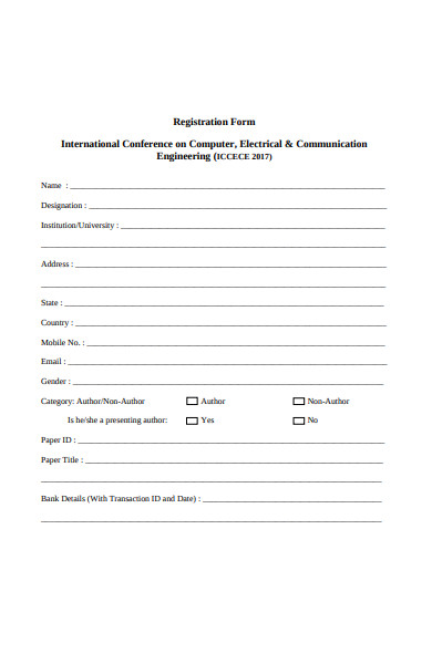 engineering conference registration form