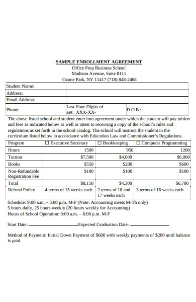 enrolment agreement form