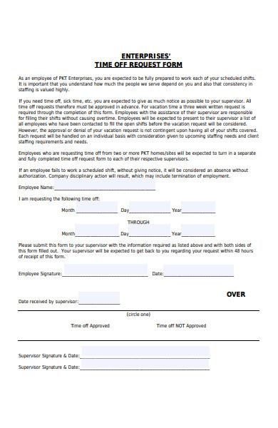 enterprises time off request form