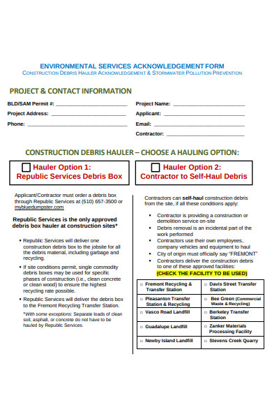 environmental services acknowledgement form