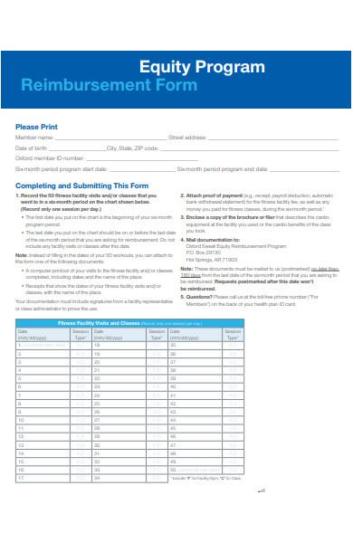 equity program reimbursement form