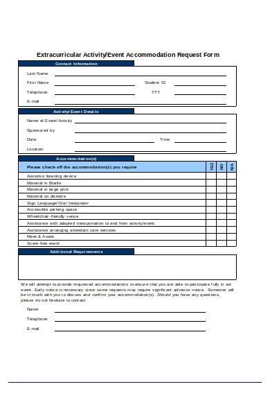 event accommodation request form