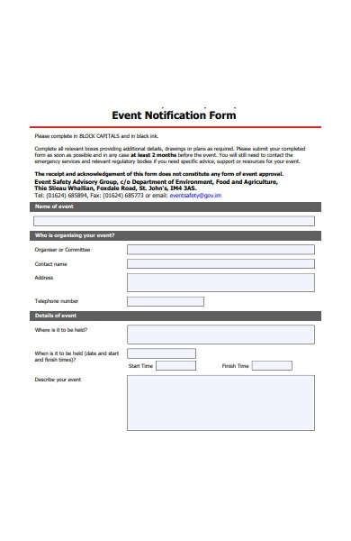 event notification form
