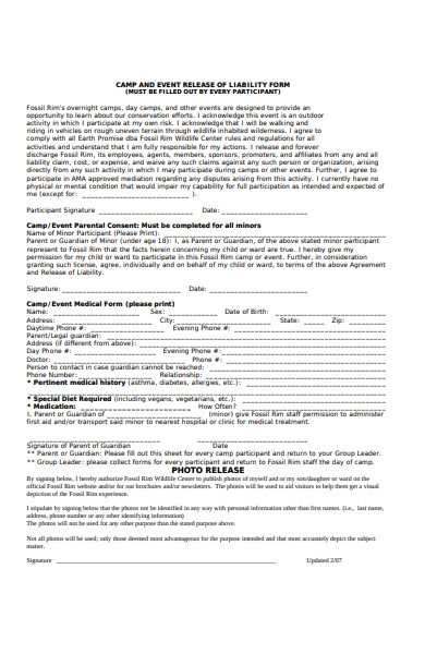 event release of liability form