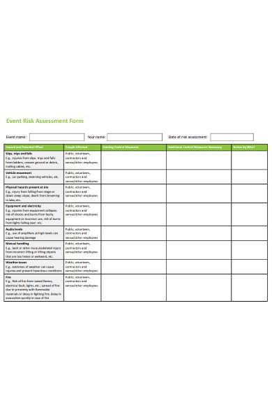event risk assessment form