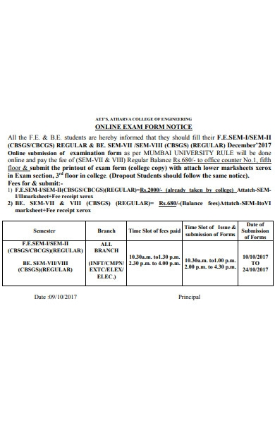 exam notice form