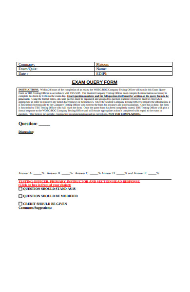 exam query form