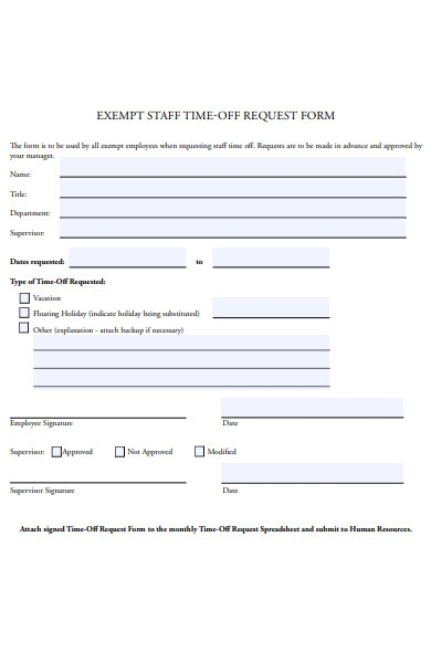 exempt staff time off request form
