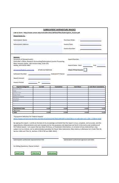 expenditure invoice form