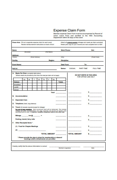 expense claim form in pdf