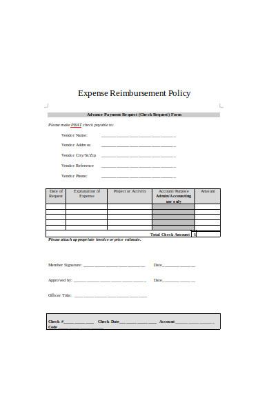 expense reimbursement policy form