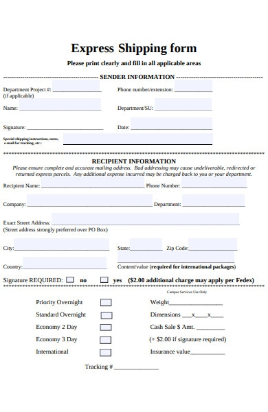 express shipping form