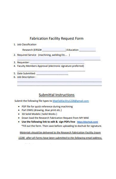 fabrication facility form