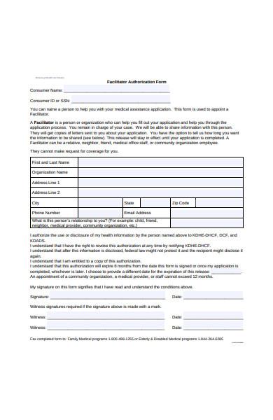 facilitator authorization form