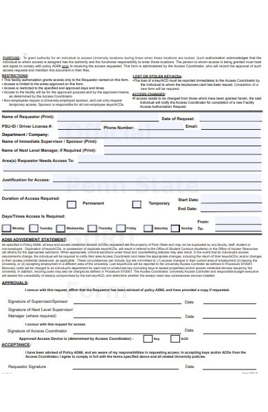 facility access request form