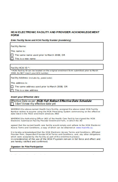facility acknowledgement form