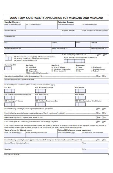 facility application form