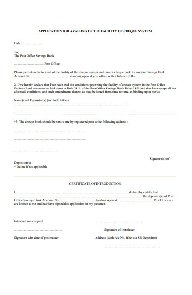 facility cheque system form