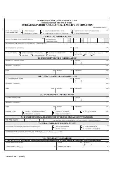 facility information form