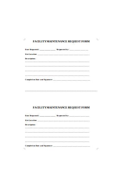facility maintenance request form