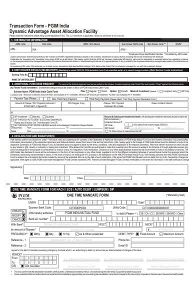 facility transaction form