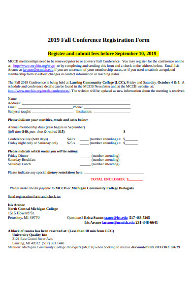 fall conference registration form