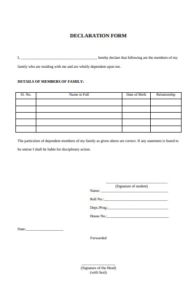 Free 52 Declaration Forms In Pdf Ms Word Xls