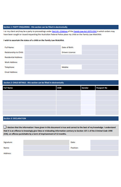family law enquiry form