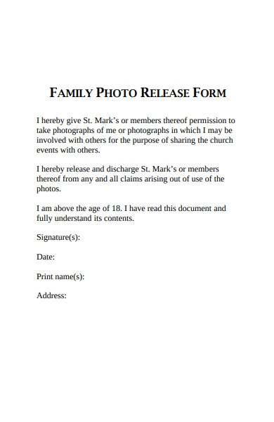 family photo release form