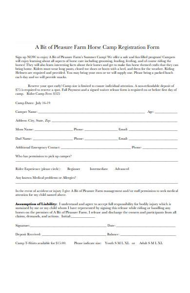 farm horse camp registration form