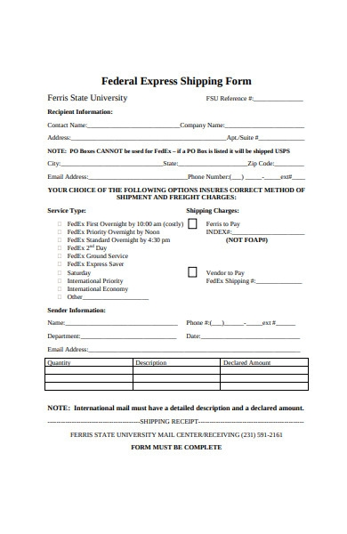 federal express shipping form