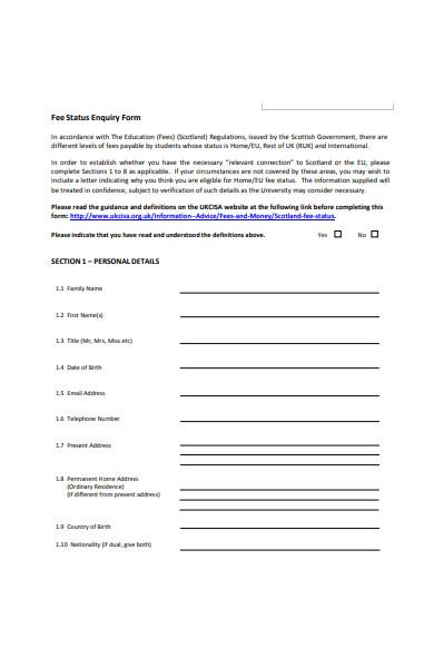 fee status enquiry form
