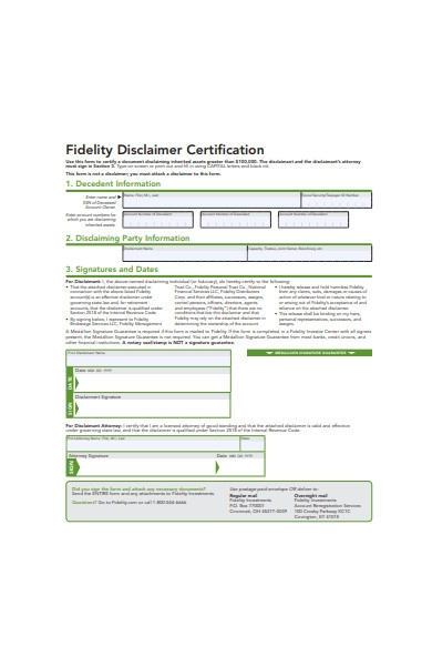 fidelity disclaimer certification form
