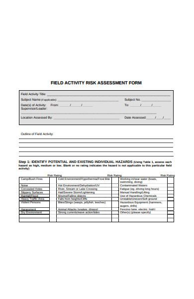 field activity risk assessment form