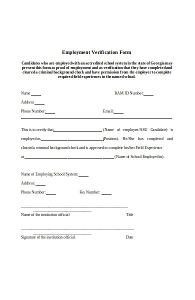 field experience employment verification form