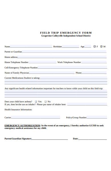 field trip emergency form