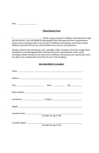 film photo release form