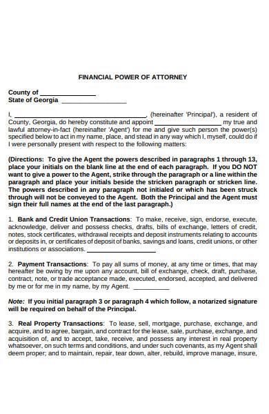 financial attorney form