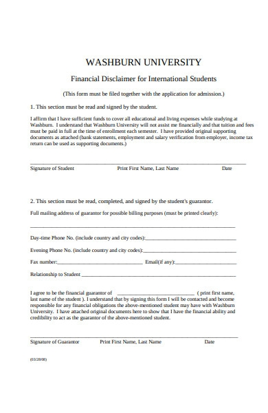 financial disclaimer form